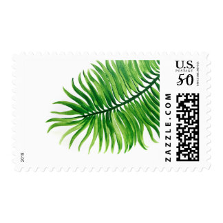Palm Leaf Watercolor Postage Stamp