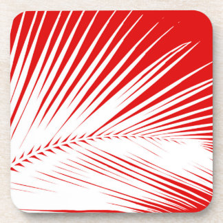 Palm leaf - white and dark coral red beverage coaster