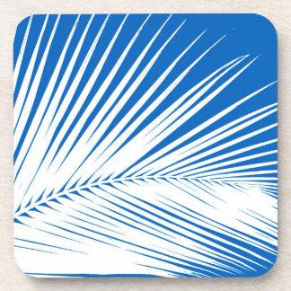Palm leaf - white on cobalt blue drink coaster
