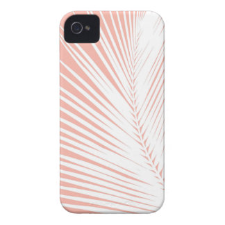 Palm leaf - white on coral pink Case-Mate iPhone 4 cases