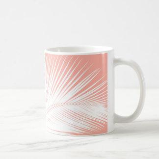 Palm leaf - white on coral pink coffee mug