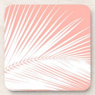 Palm leaf - white on coral pink drink coaster