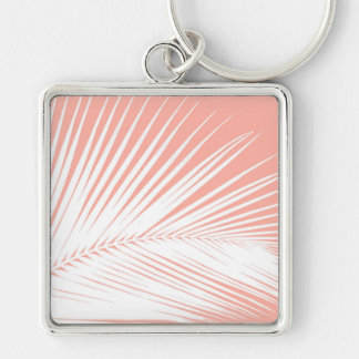Palm leaf - white on coral pink keychain