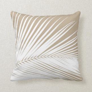 Palm leaf - white on taupe tan throw pillow
