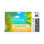 Palm Leaves Beach wedding save the date Postage