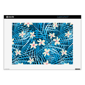 "Palm Leaves Blue Pattern 15"" Laptop Decal"