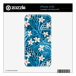 Palm Leaves Blue Pattern iPhone 4 Skins