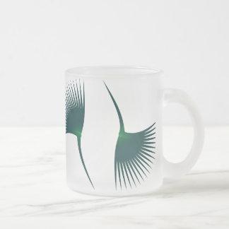 Palm leaves frosted glass coffee mug