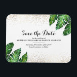 "Palm Leaves &amp; Gold Confetti on White Save The Date Magnet<br><div class=""desc"">Create your own &quot;Palm Leaves &amp; Gold Confetti on White Save The Date&quot; by Eugene Designs.</div>"