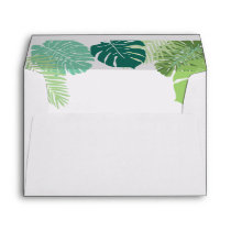 Palm leaves Green Rustic Envelope Elegant green