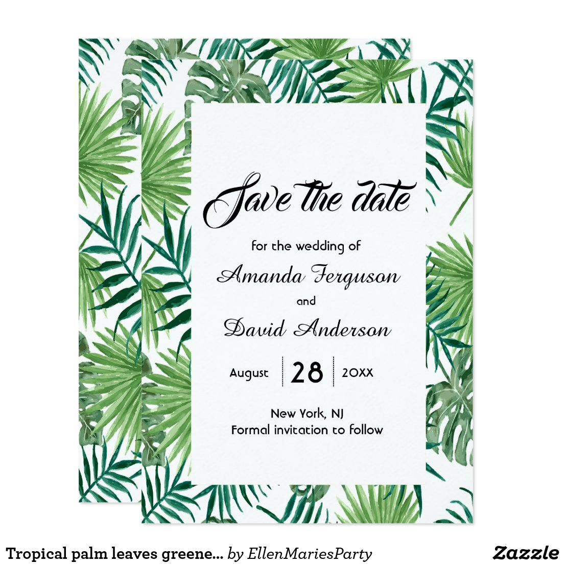 Palm leaves greenery save the date card