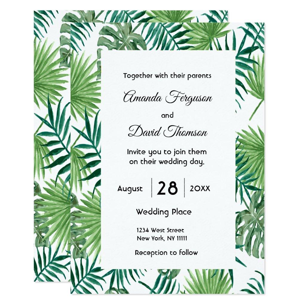 Palm leaves greenery wedding invitation card