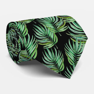 Palm leaves neck tie