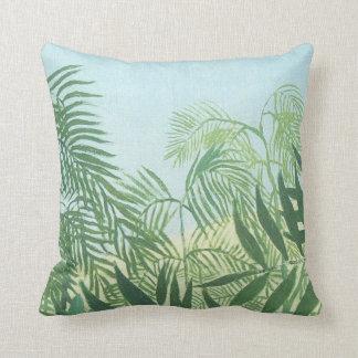 Palm Leaves on Pale Blue Henri Rousseau Pillow