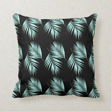 Beach Themed Palm Leaves Pattern #2 #Mint #Black #decor #art Throw Pillow