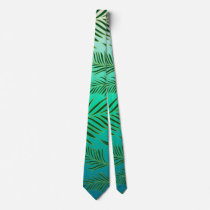Palm Leaves Pattern Neck Tie