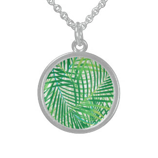 Palm leaves sterling silver necklace