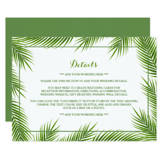 Palm Leaves Tropical Beach Wedding Detail Insert Card