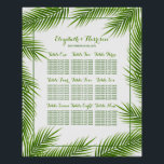 "Palm Leaves Tropical Beach Wedding Seating Chart<br><div class=""desc"">This seating chart is perfect for any couple planning a romantic destination beach wedding celebration. The design features trendy tropical green palm leaves on a simple clean white background with a coordinated border and wording. The simple design can be personalized to suit your special event and will be the perfect...</div>"