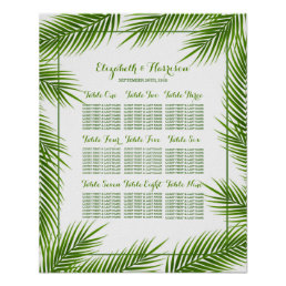 Palm Leaves Tropical Beach Wedding Seating Chart