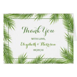 Palm Leaves Tropical Beach Wedding Thank You Card