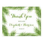 Palm Leaves Tropical Beach Wedding Thank You Postcard