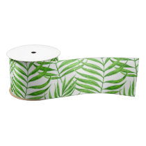 Palm leaves watercolor satin ribbon