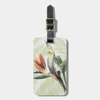 Palm Leaves With Black Bird Luggage Tag