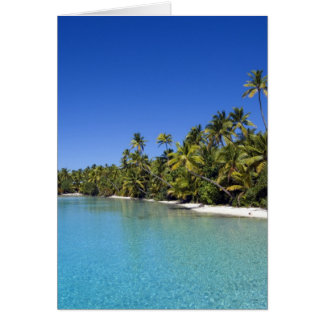 Palm lined beach Cook Islands 2 Card