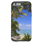 Palm lined beach Cook Islands 2 Tough iPhone 6 Case