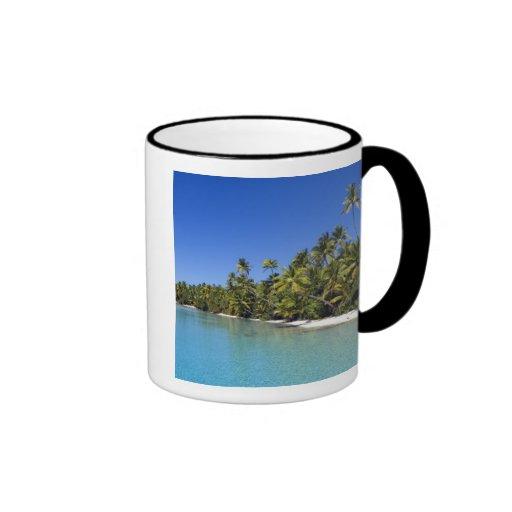 Palm lined beach Cook Islands 2 Coffee Mugs