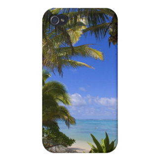 Palm lined beach Cook Islands 2 iPhone 4 Cases