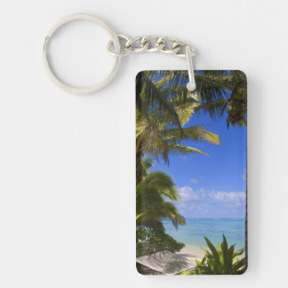 Palm lined beach Cook Islands 2 Key Chains
