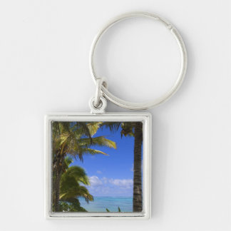 Palm lined beach Cook Islands 2 Keychain