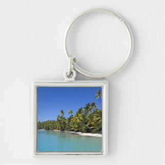 Palm lined beach Cook Islands 2 Silver-Colored Square Keychain