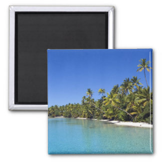 Palm lined beach Cook Islands 2 Magnet