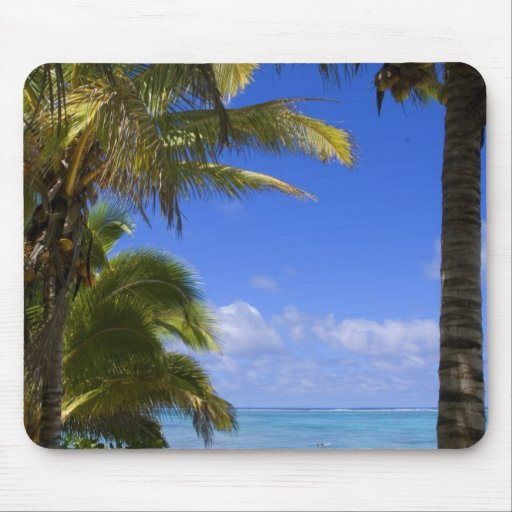 Palm lined beach Cook Islands 2 Mouse Pad