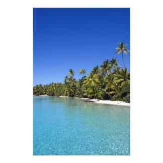 Palm lined beach Cook Islands 2 Photo Print