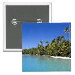 Palm lined beach Cook Islands 2 Pinback Buttons