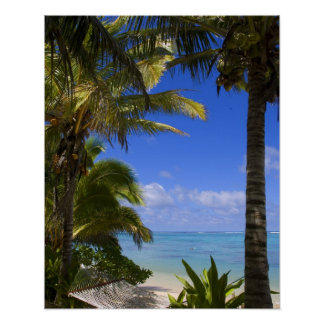 Palm lined beach Cook Islands 2 Poster