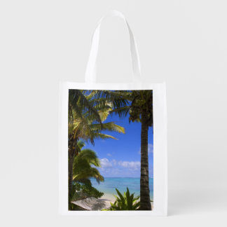 Palm lined beach Cook Islands 2 Reusable Grocery Bags