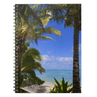 Palm lined beach Cook Islands 2 Spiral Notebook