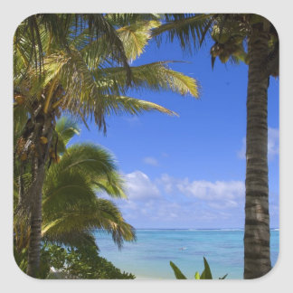 Palm lined beach Cook Islands 2 Square Sticker