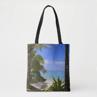 Palm lined beach Cook Islands 2 Tote Bag