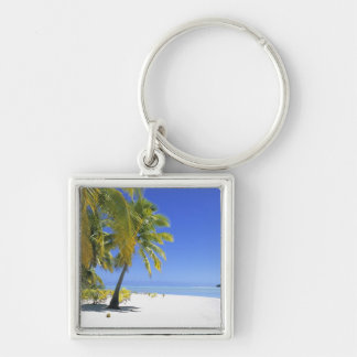 Palm lined beach Cook Islands 3 Keychain