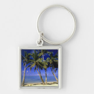 Palm lined beach Cook Islands 4 Keychain