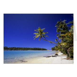 Palm lined beach Cook Islands 5 Card