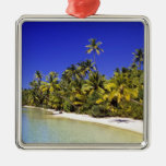 Palm lined beach Cook Islands 6 Christmas Ornament