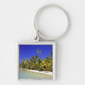 Palm lined beach Cook Islands 6 Keychain