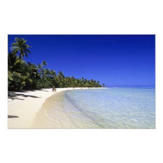 Palm lined beach Cook Islands 7 Photo Print